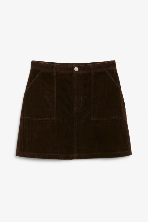 Front image of Monki a-line cord mini skirt in brown