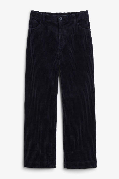 Front image of Monki wide leg corduroy trousers in blue
