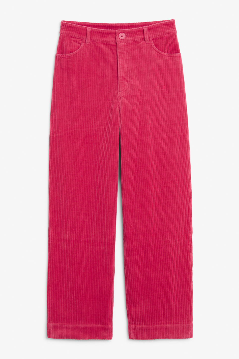 Front image of Monki wide leg corduroy trousers in pink