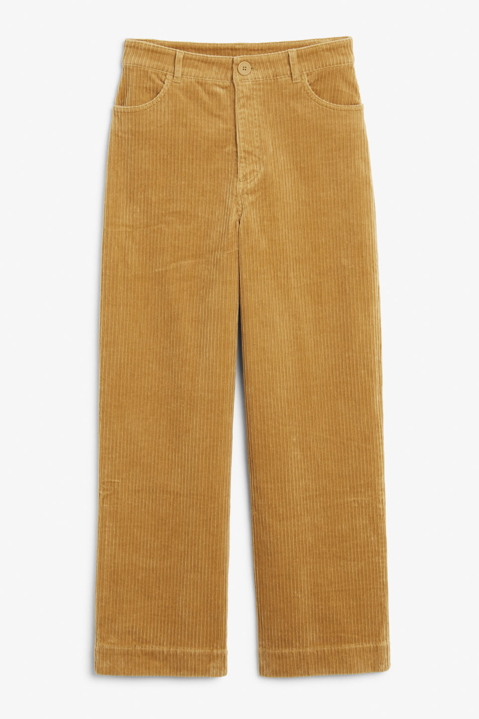 Front image of Monki wide leg corduroy trousers in yellow