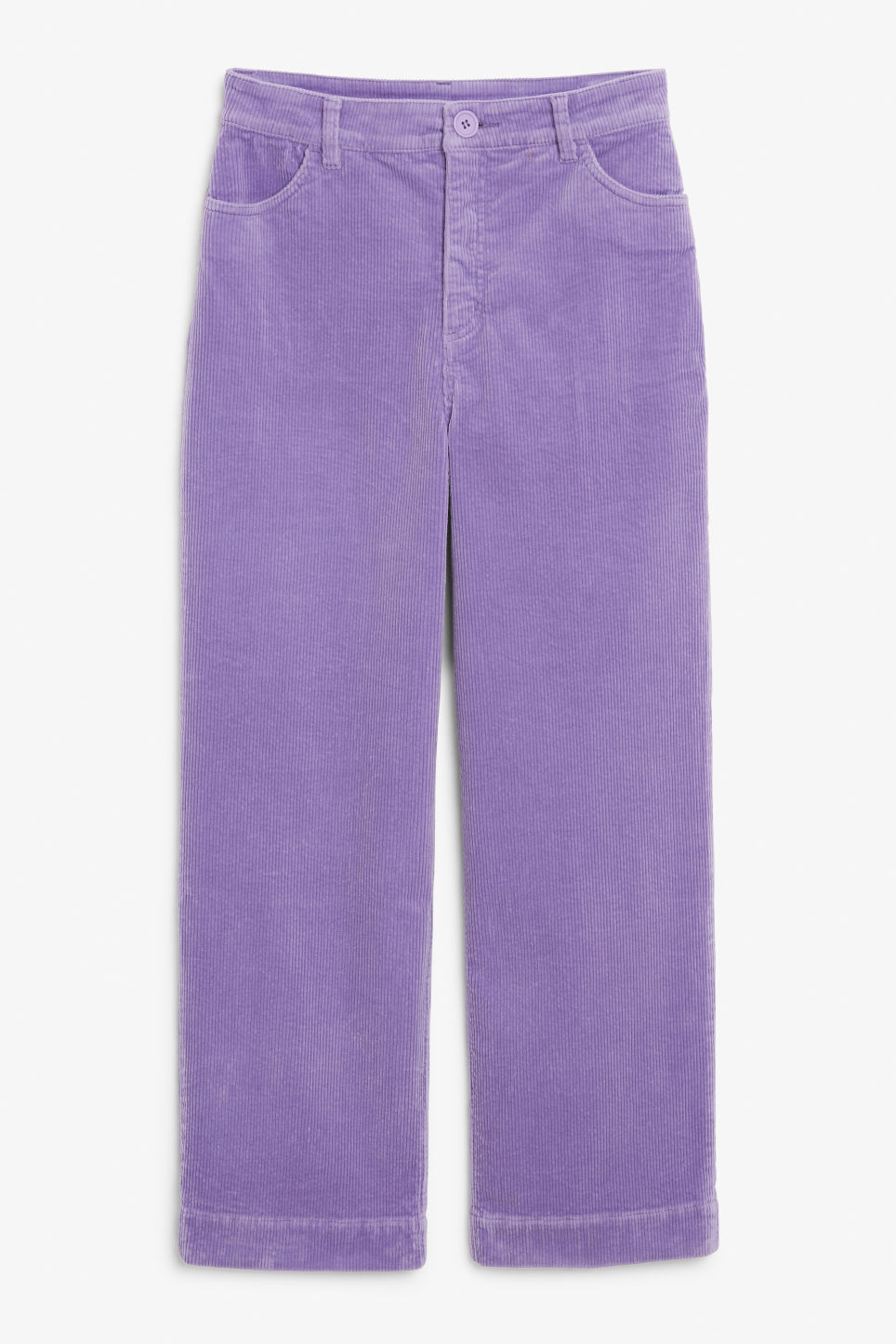 Front image of Monki wide leg corduroy trousers in purple