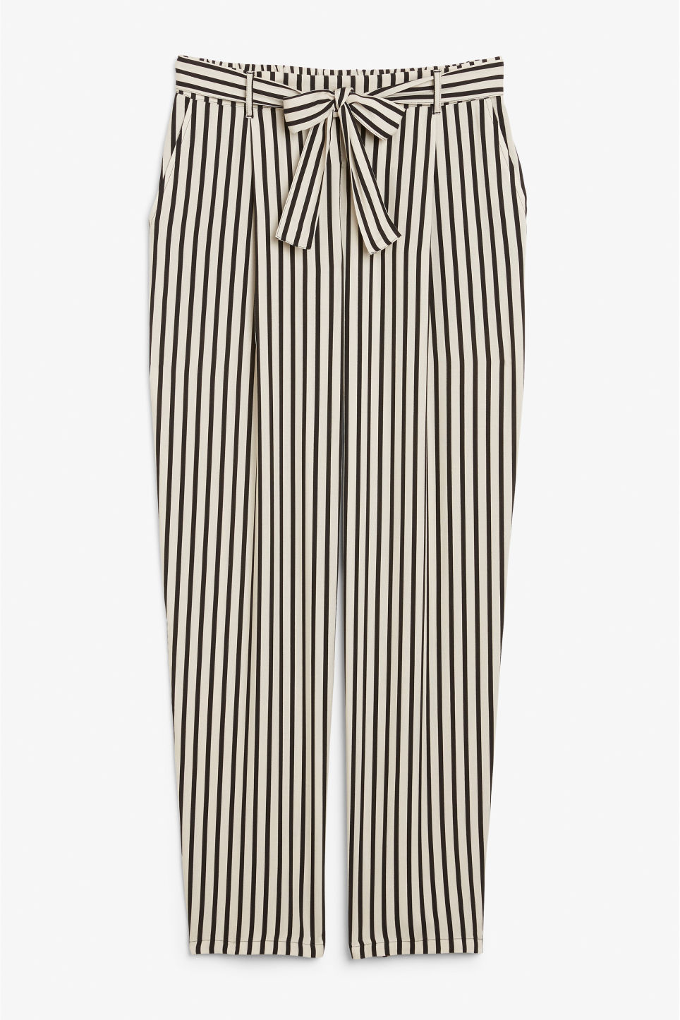 Front image of Monki tie waist trousers in beige
