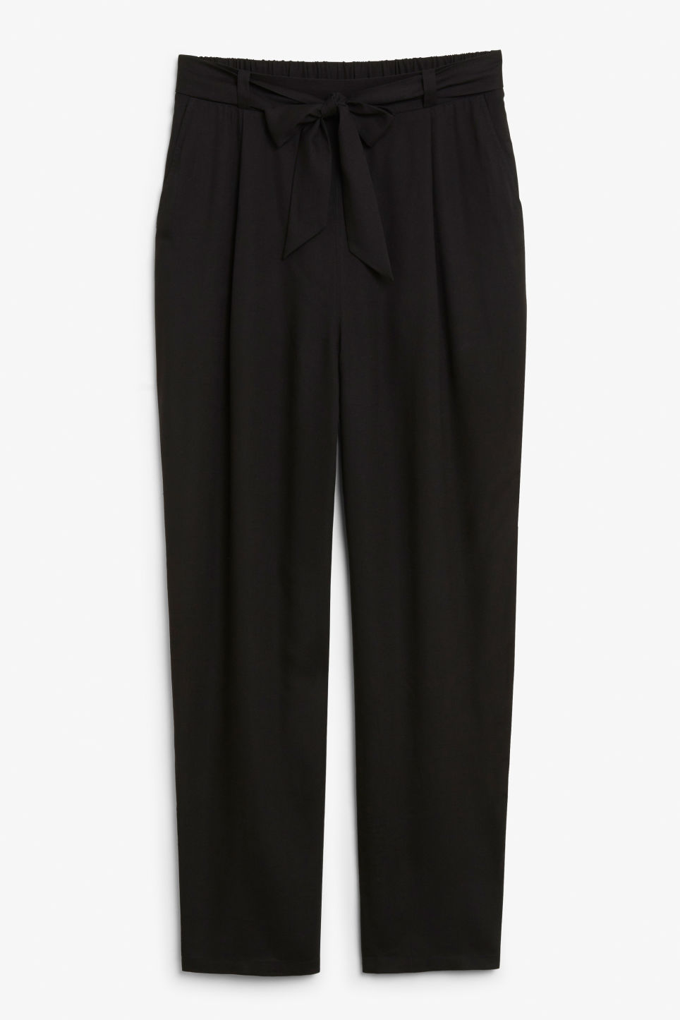 Front image of Monki flowy striped trousers in black