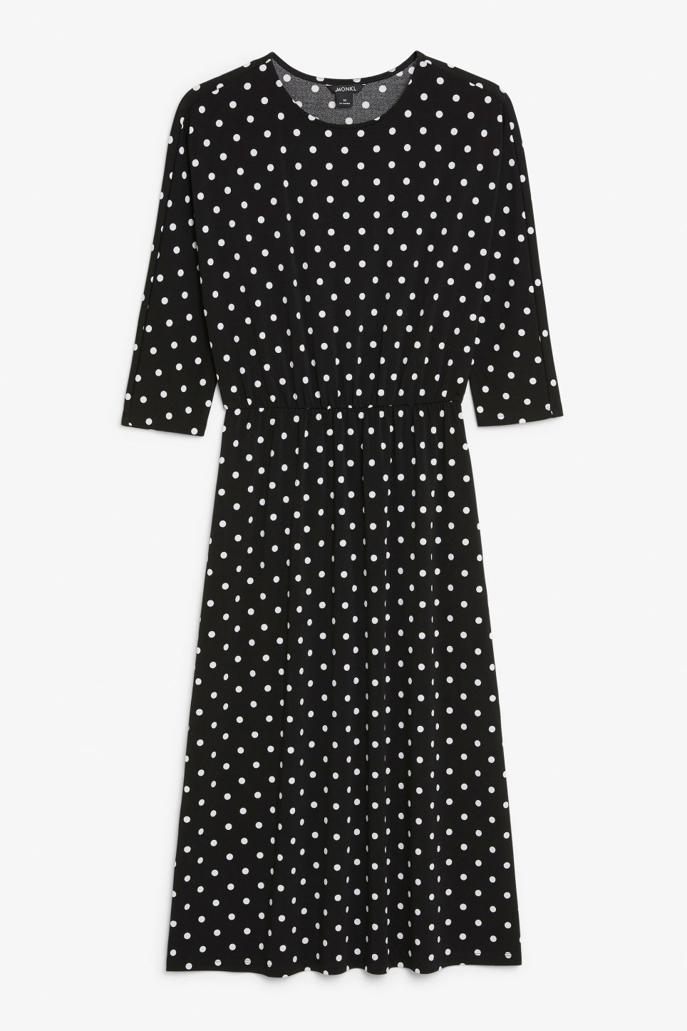 Front image of Monki elastic-waist long dress in black