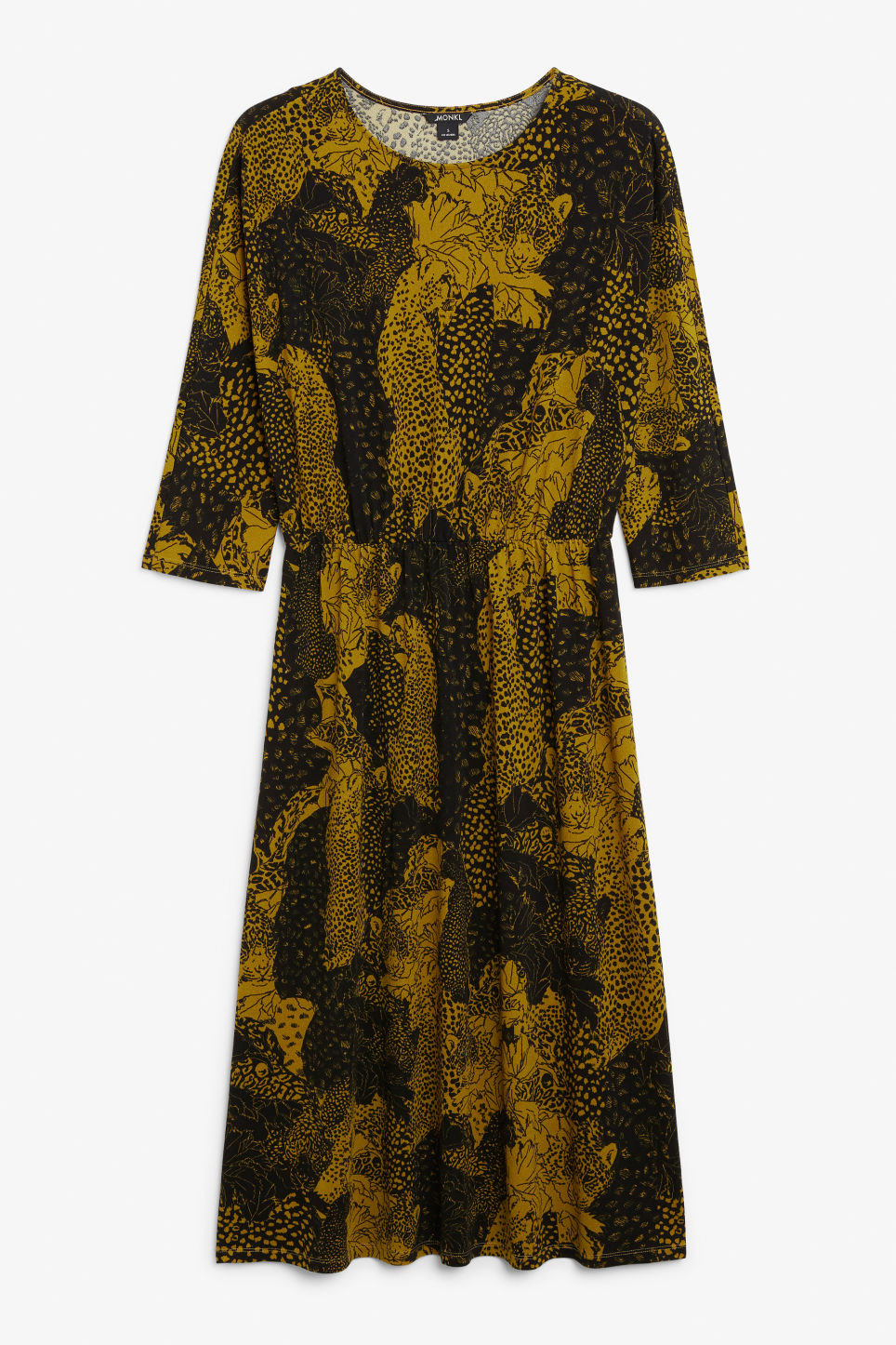 Front image of Monki elastic-waist long dress in yellow