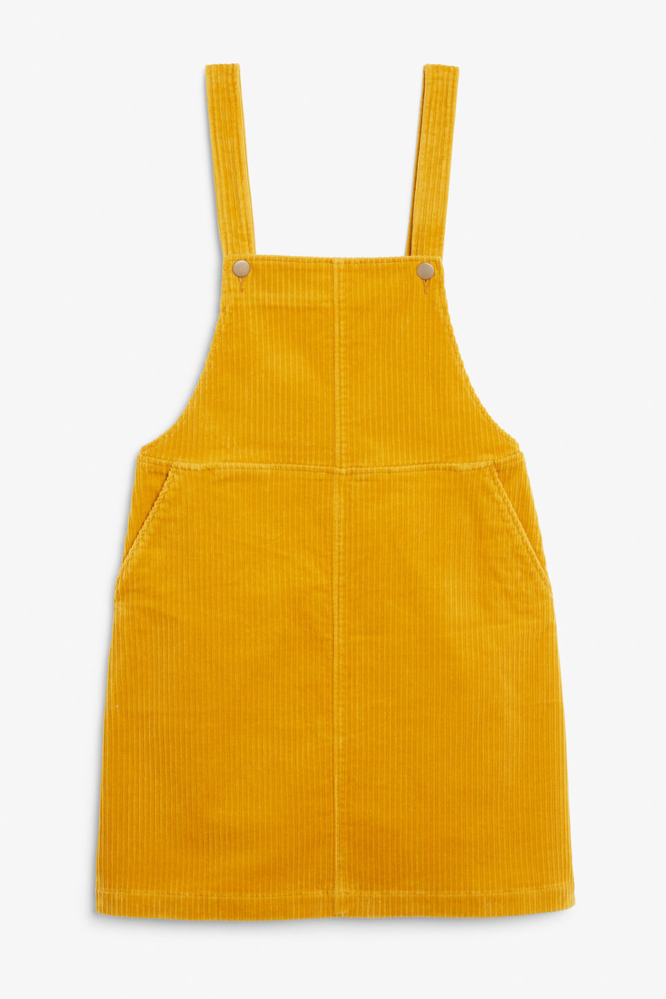 Front image of Monki dungaree dress in yellow