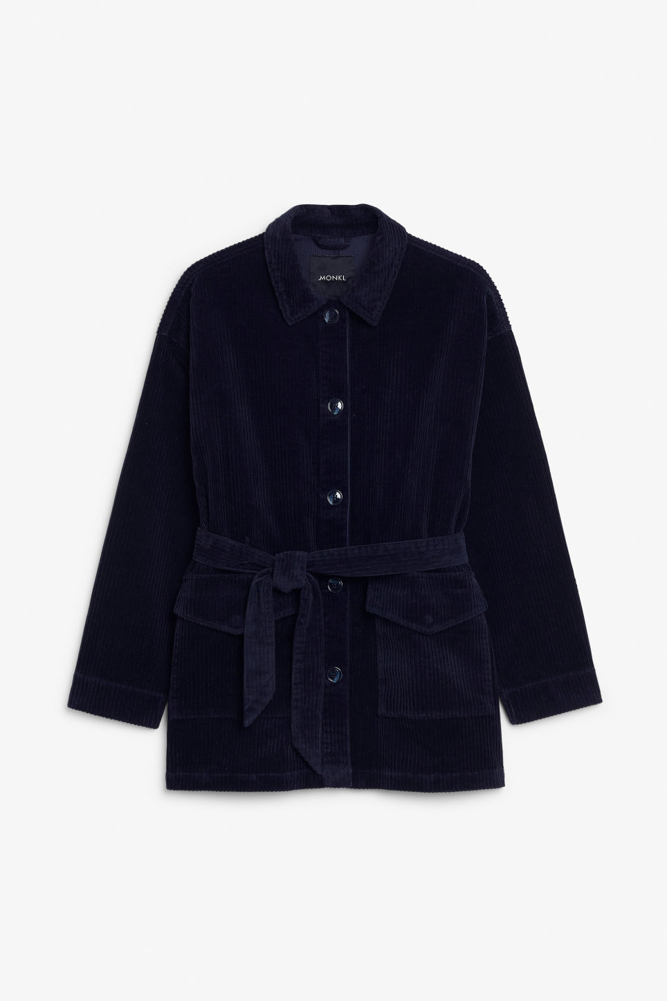 Front image of Monki belted corduroy jacket in blue