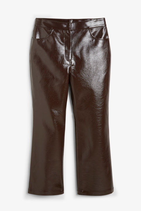 Front image of Monki faux patent leather trousers in brown