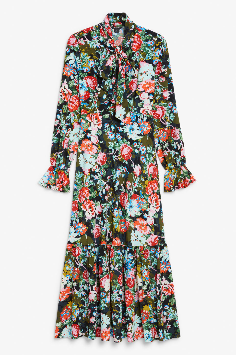 Front image of Monki flounce dress in black