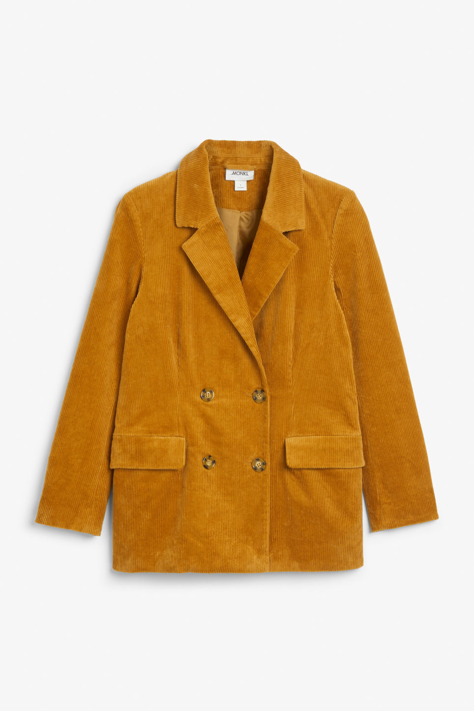 Front image of Monki corduroy blazer in yellow