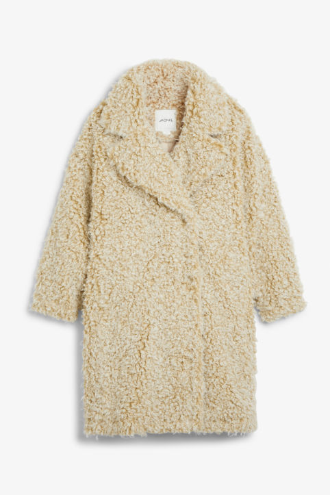 Front image of Monki faux shearling coat in beige