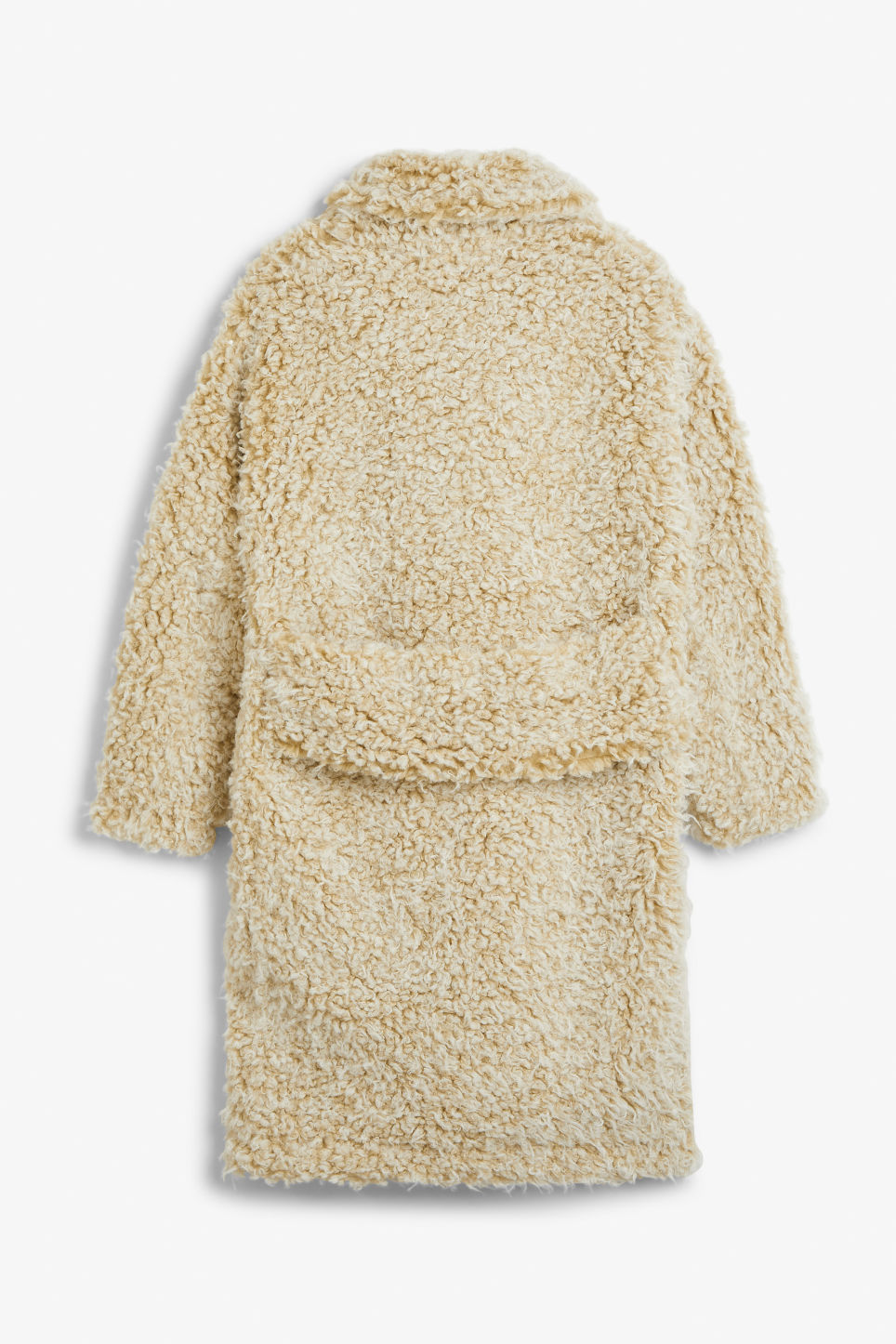 Back image of Monki faux shearling coat in beige