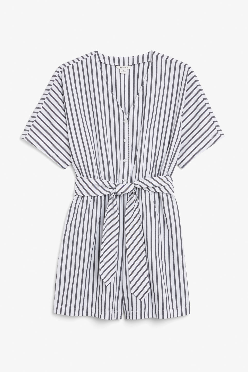 Front image of Monki v-necked playsuit in black