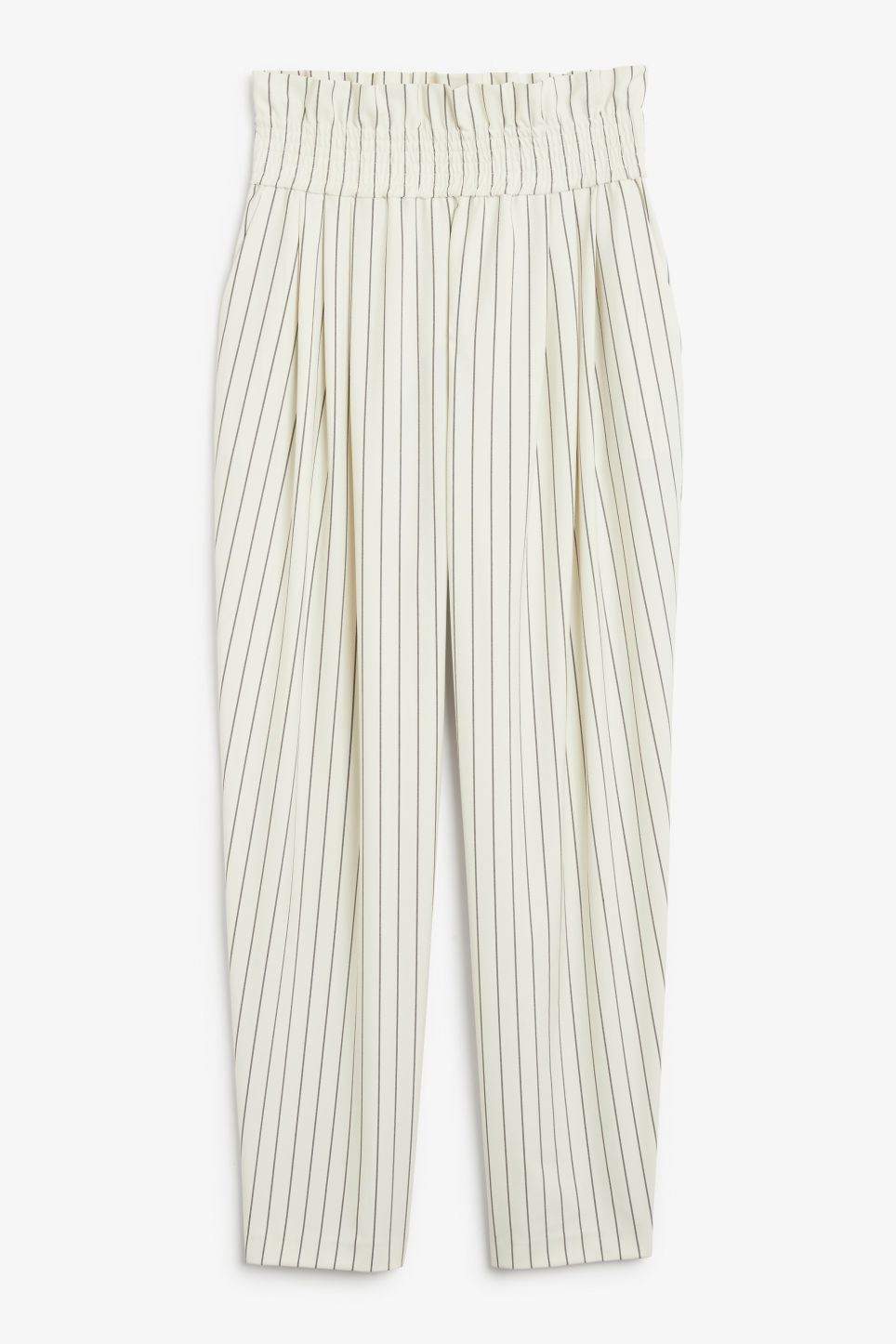 Front image of Monki wide leg trousers in white