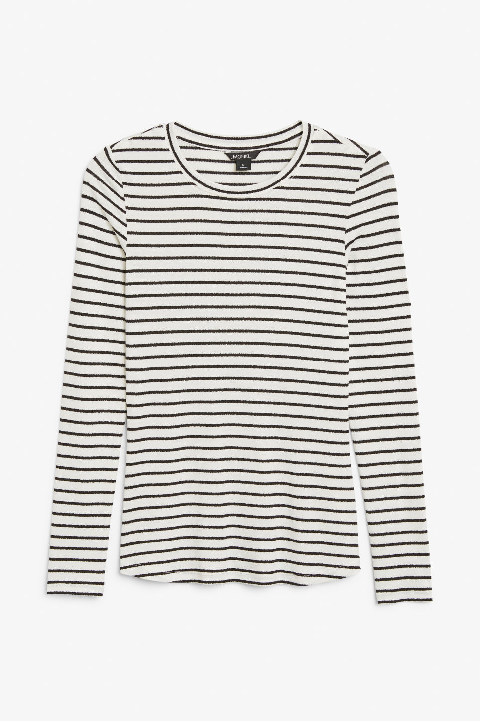 Front image of Monki fitted long-sleeved top in white