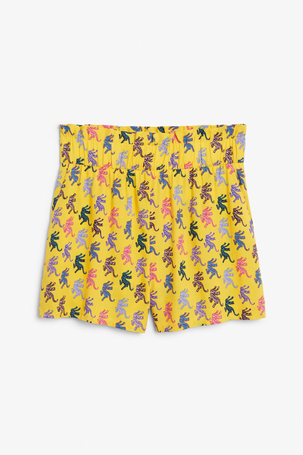 Front image of Monki flowy shorts in yellow