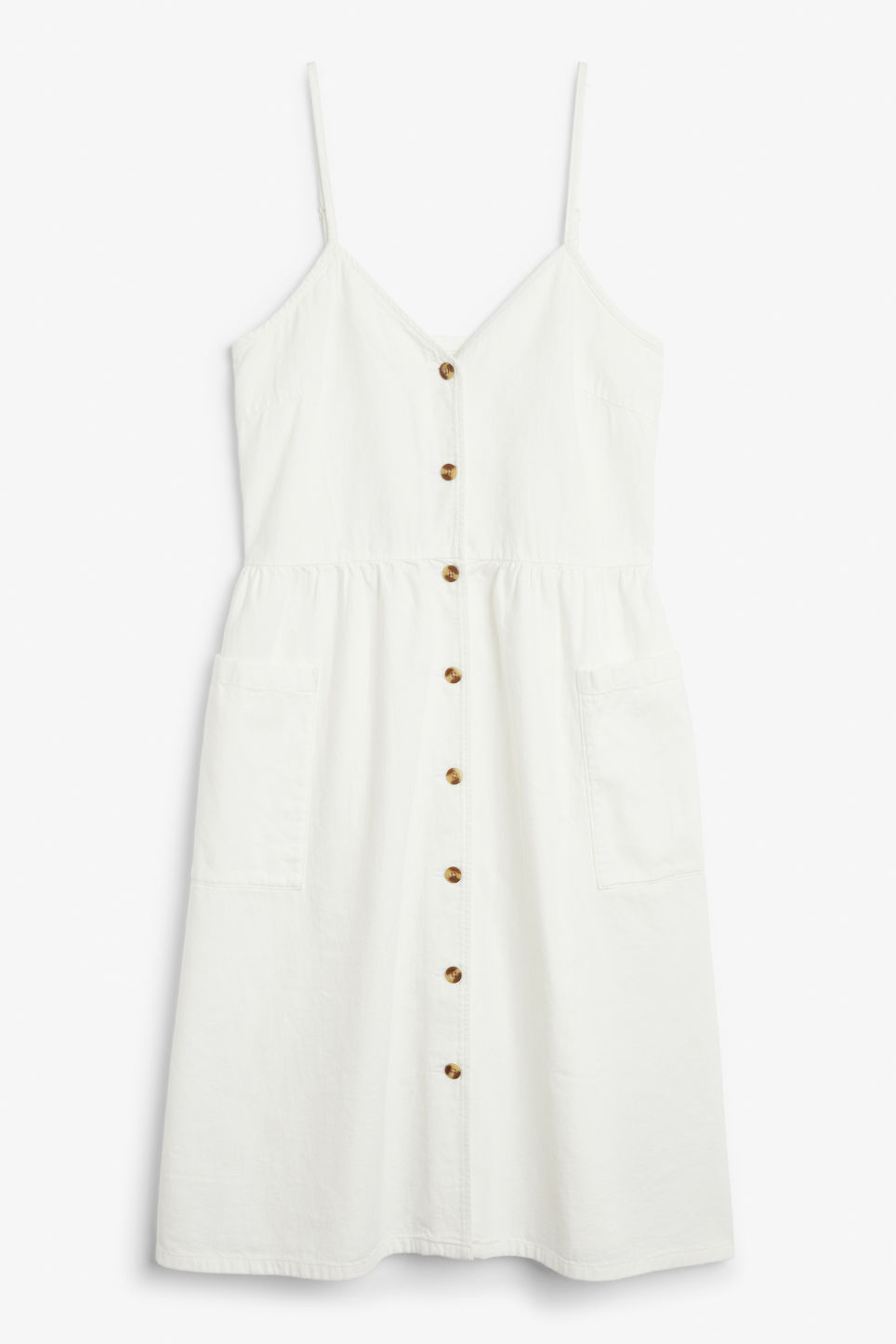 Front image of Monki denim dress in white
