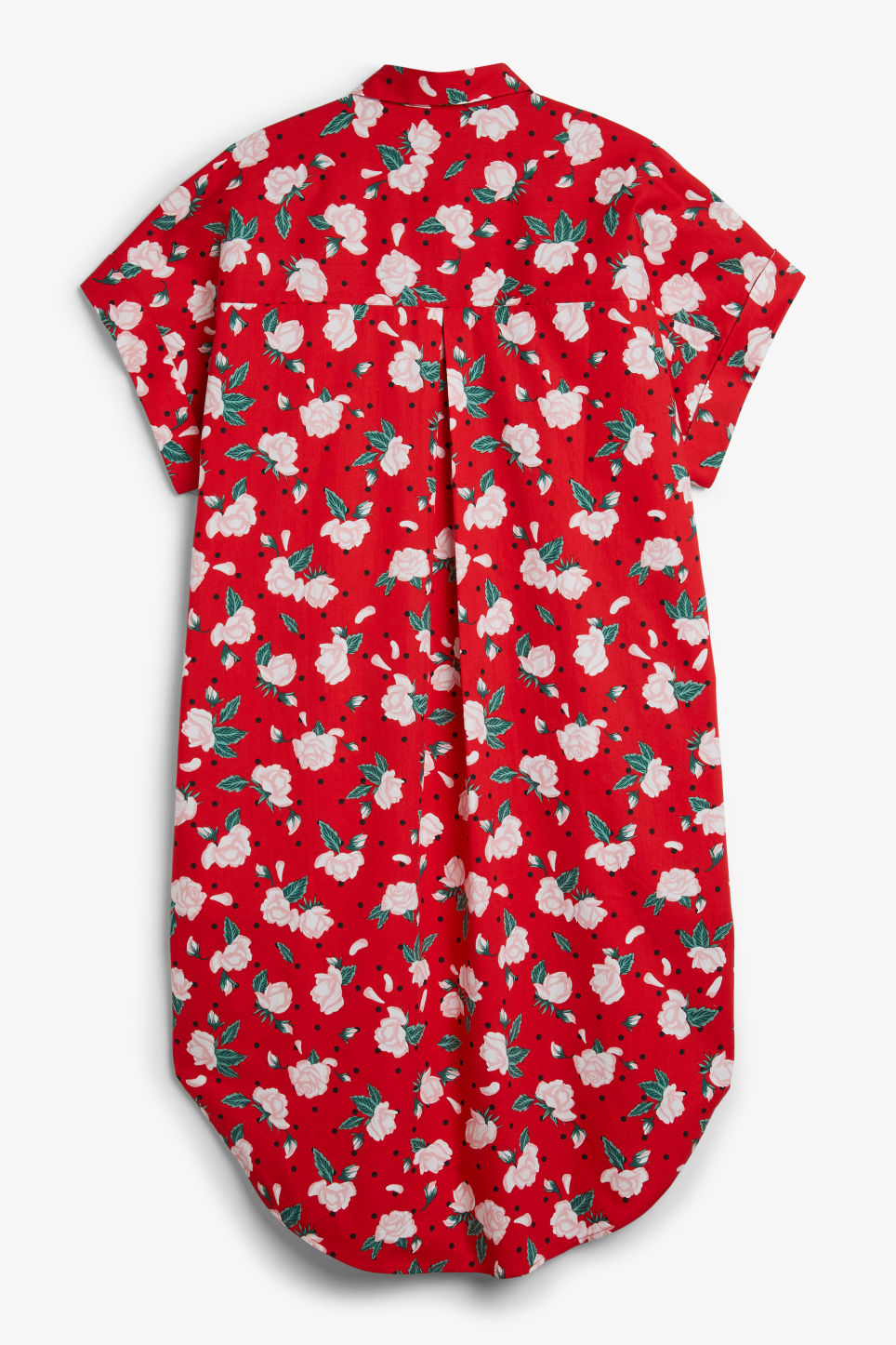 Back image of Monki oversized shirt dress in red