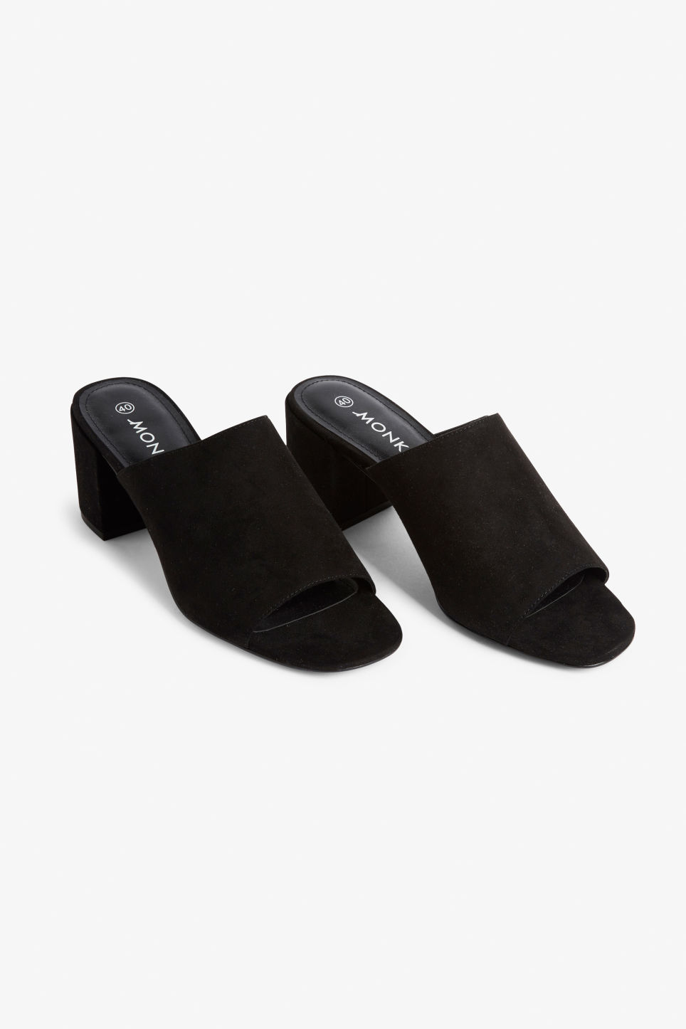 Front image of Monki faux suede mule sandals in black