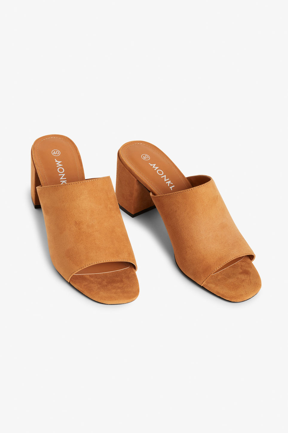 Front image of Monki faux suede mule sandals in yellow