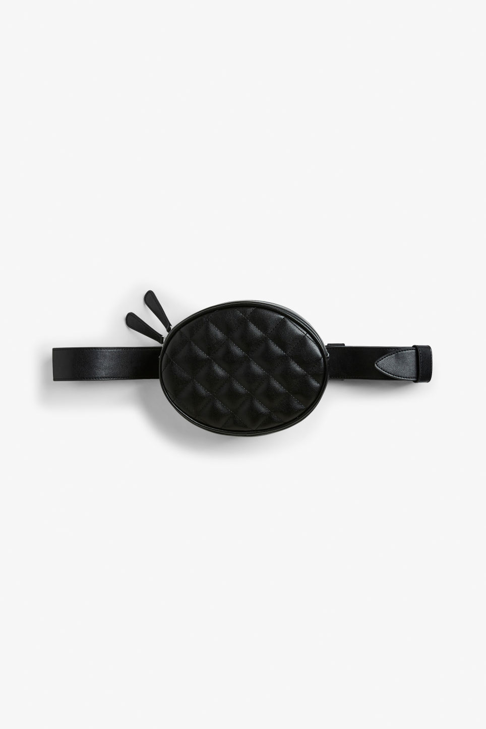 Front image of Monki sleek fanny pack in black