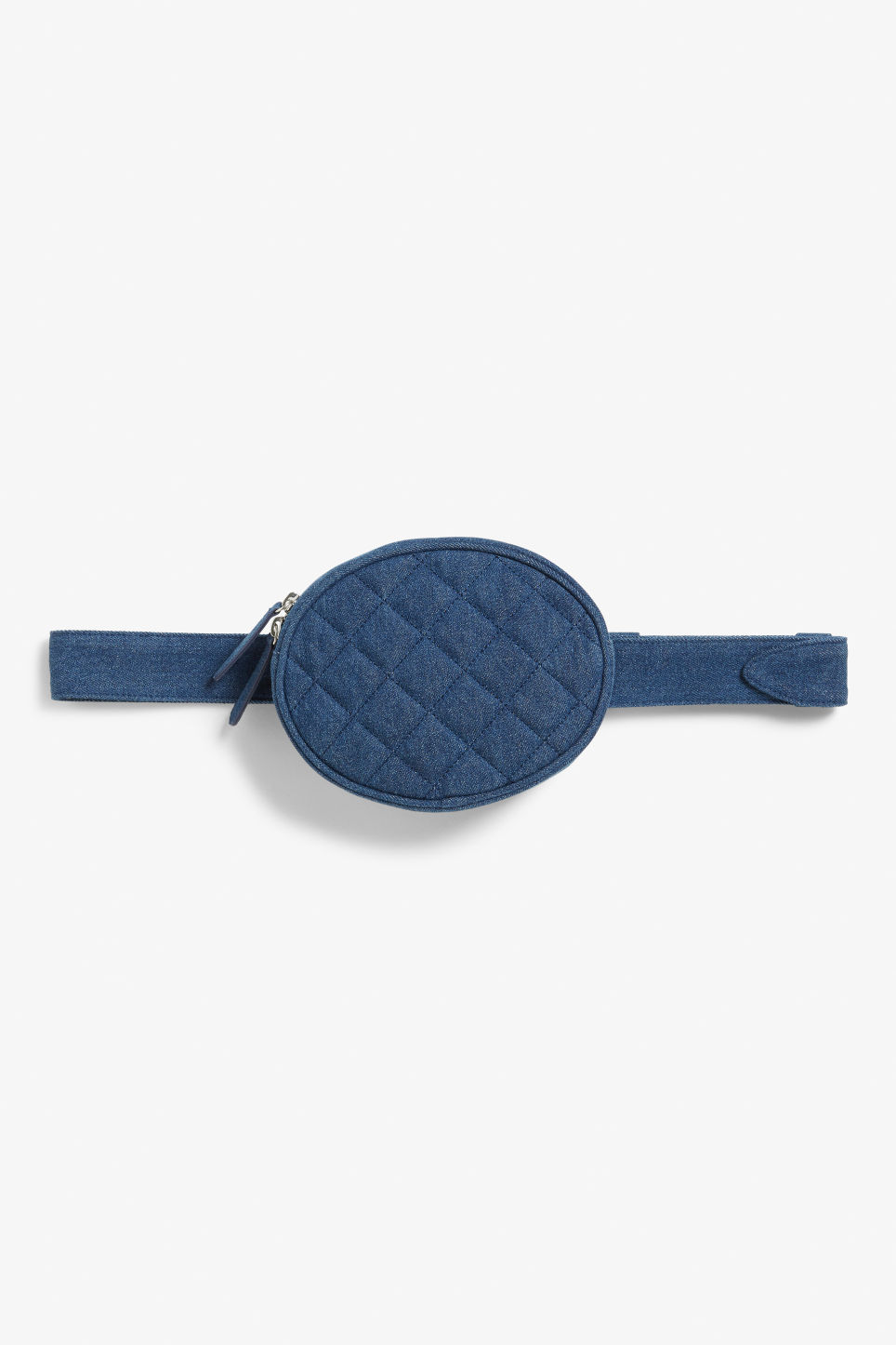 Front image of Monki sleek fanny pack in blue