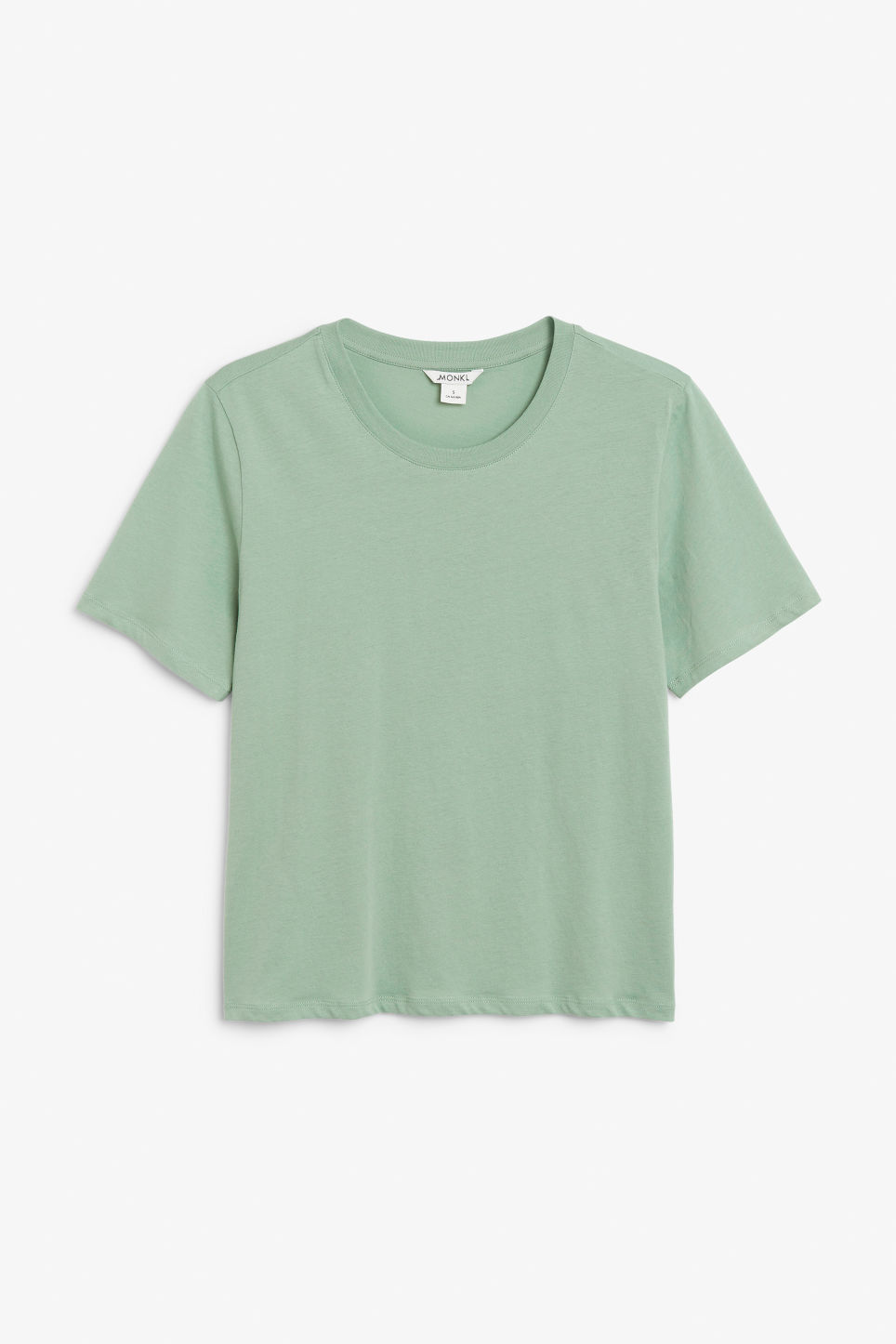 Front image of Monki soft cotton tee in green