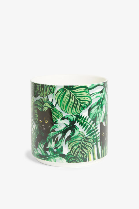 Front image of Monki ceramic pot in green
