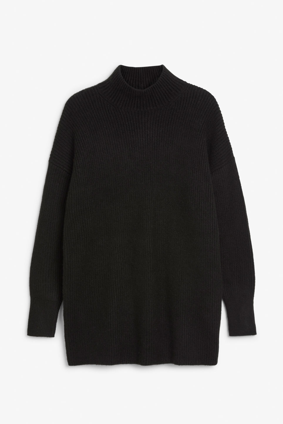 Front image of Monki long polo neck knit in black