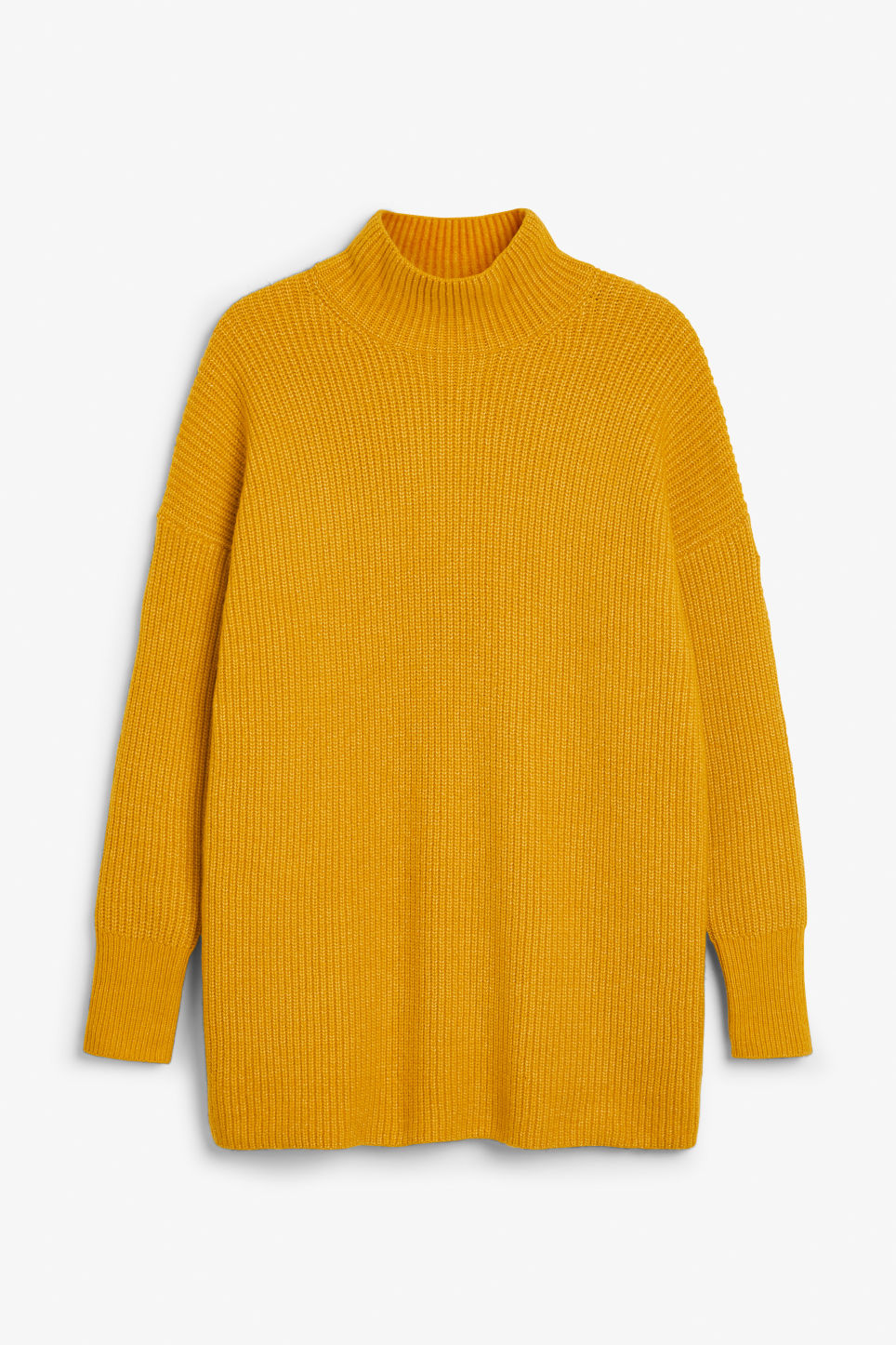 Front image of Monki long polo neck knit in yellow