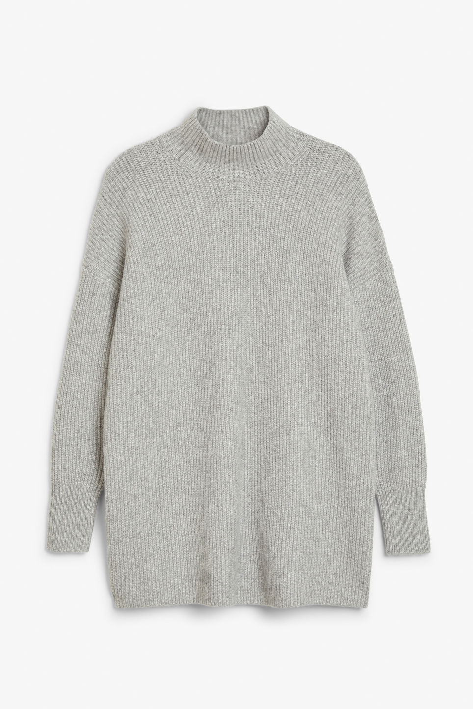 Front image of Monki long polo neck knit in grey