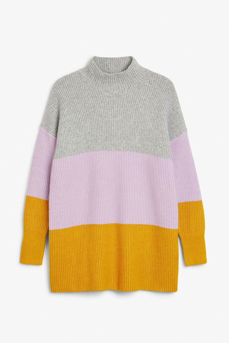 Front image of Monki long polo neck knit in purple