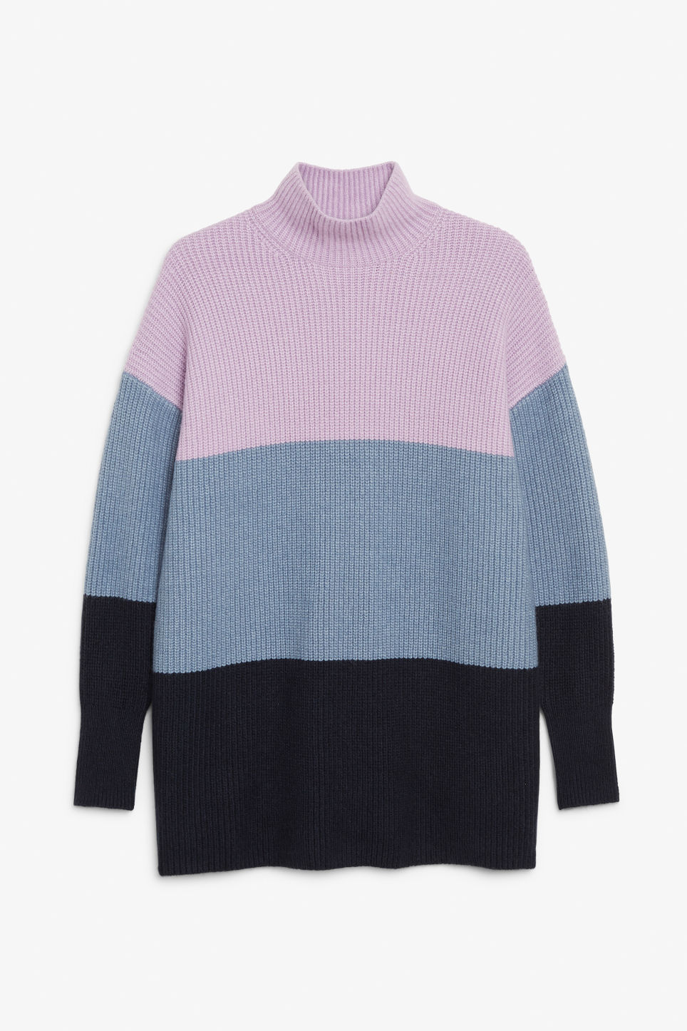 Front image of Monki long polo neck knit in blue