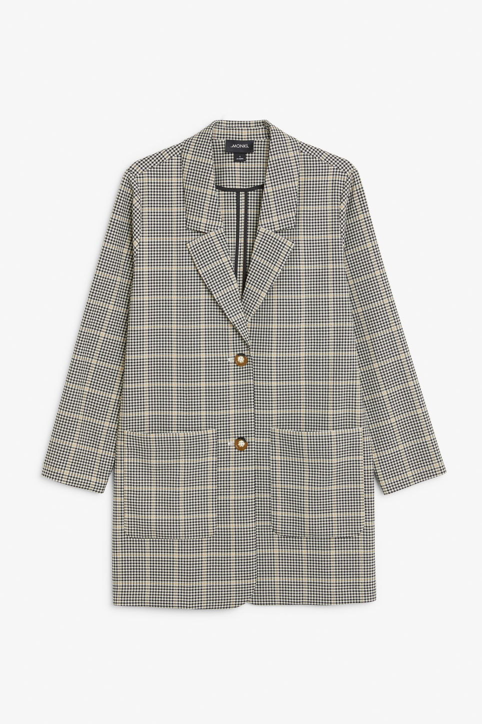 Front image of Monki long blazer in beige