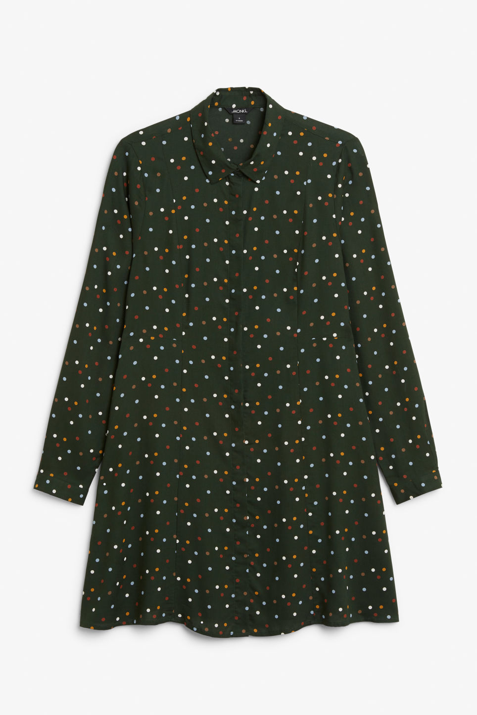 Front image of Monki shirt dress in green