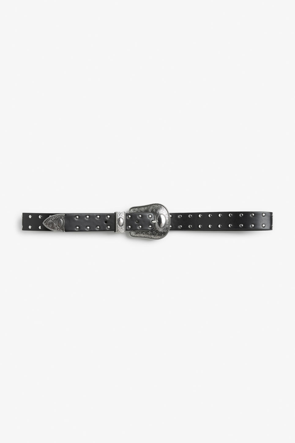 Front image of Monki faux leather belt in black