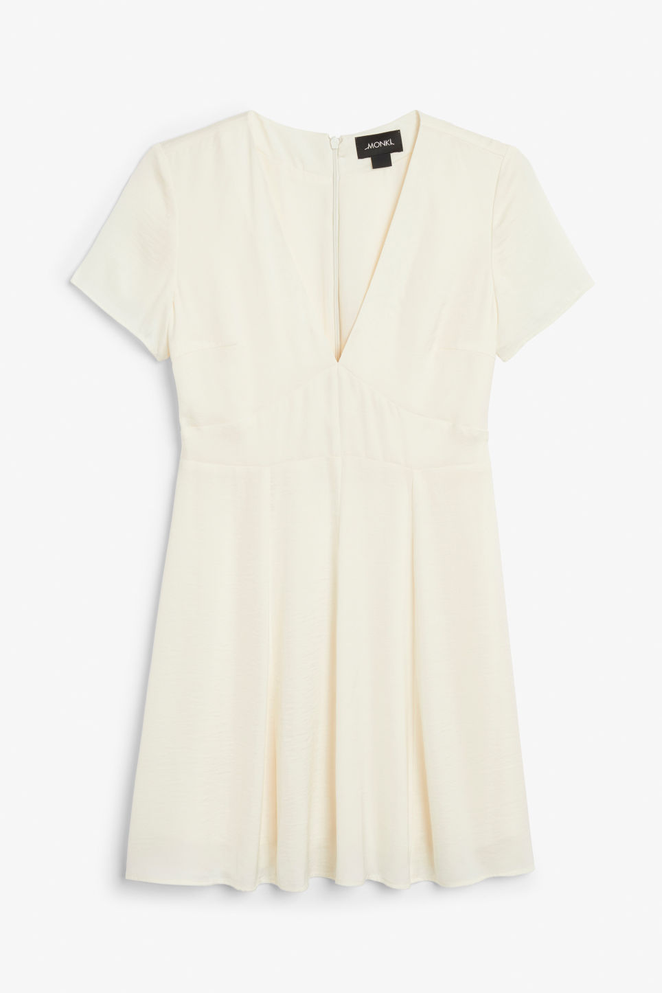 Front image of Monki silky dress in white