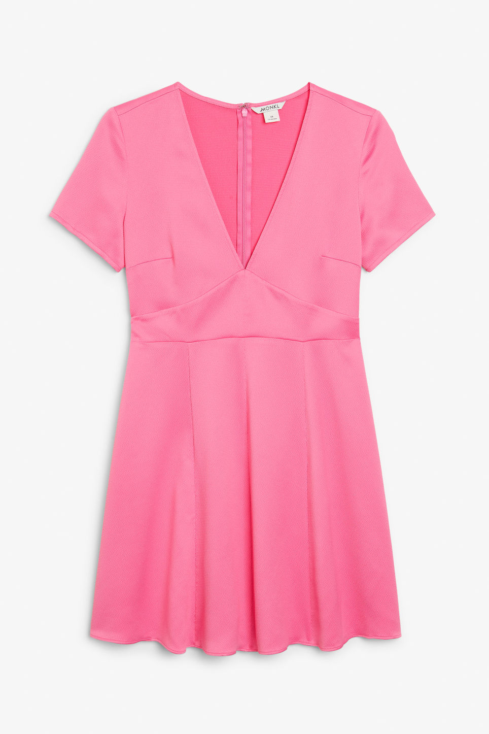 Front image of Monki silky v-neck party dress in pink