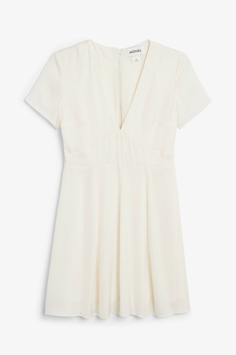 Front image of Monki silky v-neck party dress in white