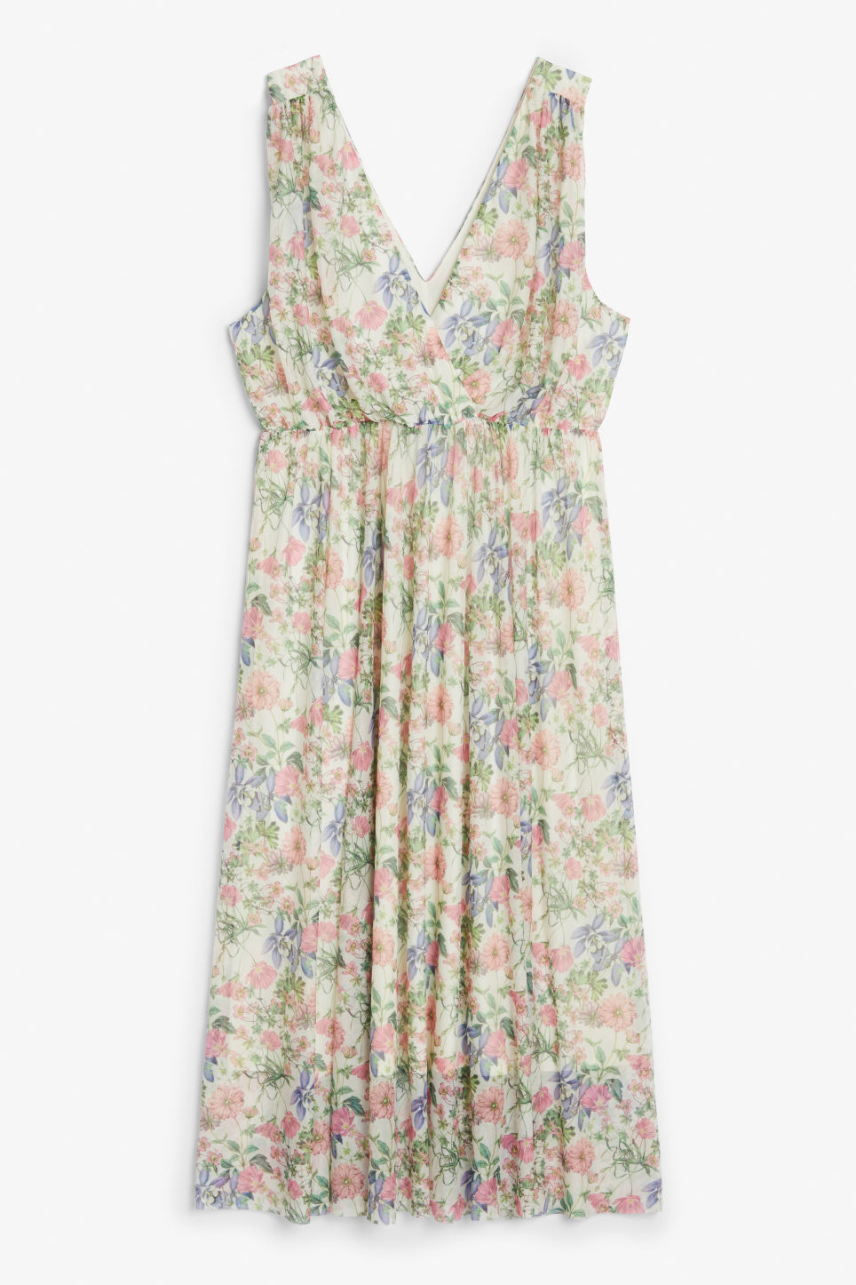 Front image of Monki long layered dress in white