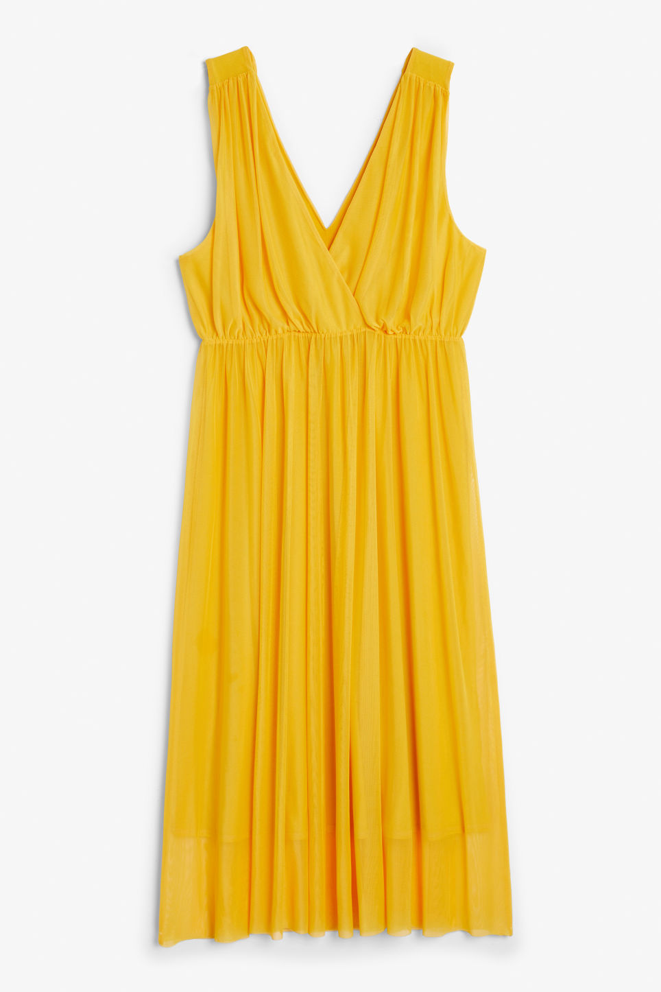 Front image of Monki long layered dress in yellow