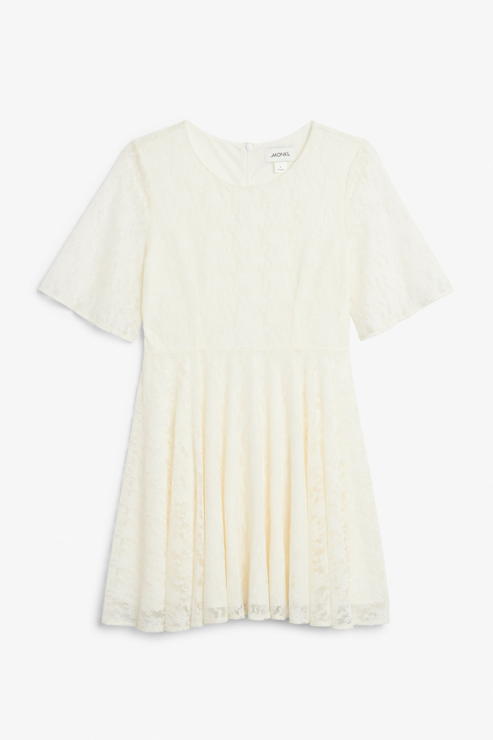 Front image of Monki lace dress in white