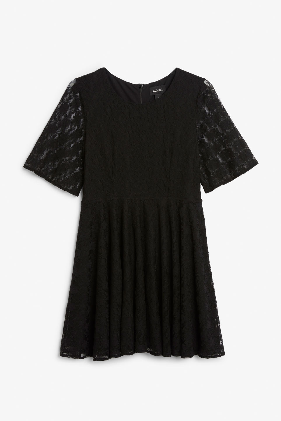 Front image of Monki lace dress in black