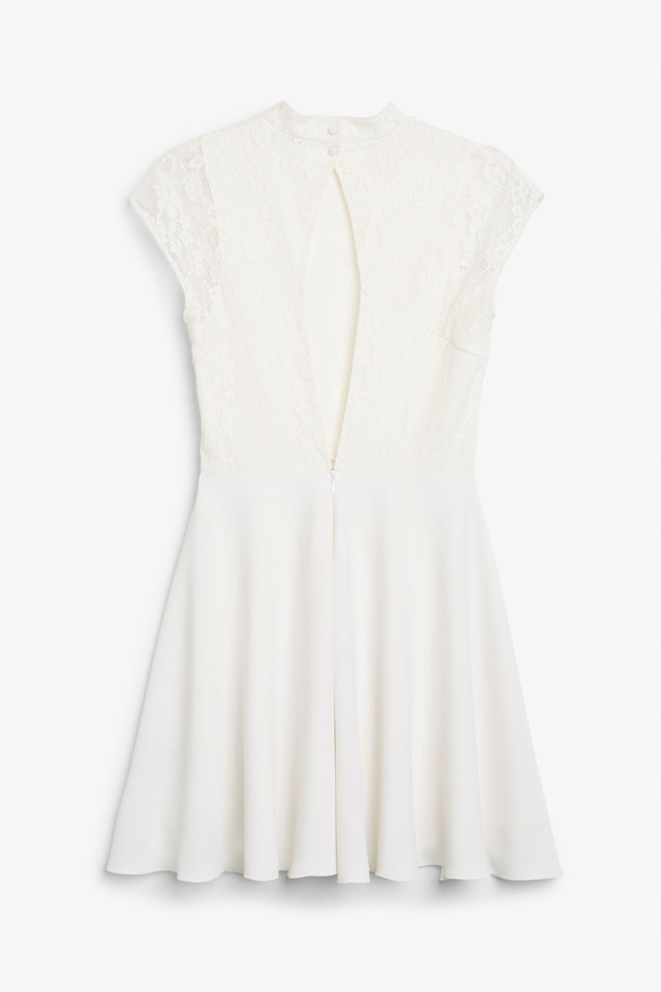 Back image of Monki lace dress in white