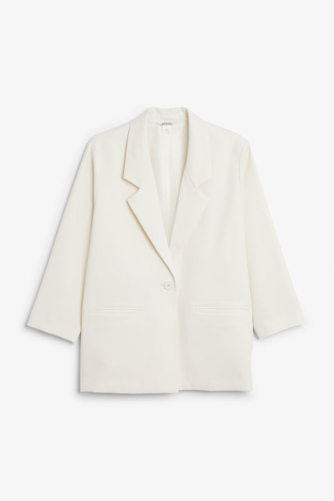 Front image of Monki silky blazer in white