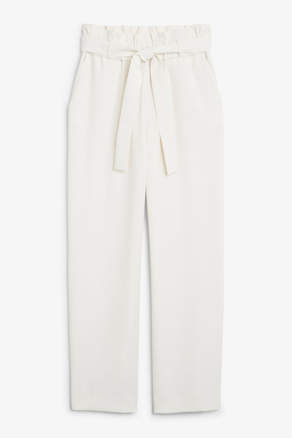 Front image of Monki flowy trousers in white