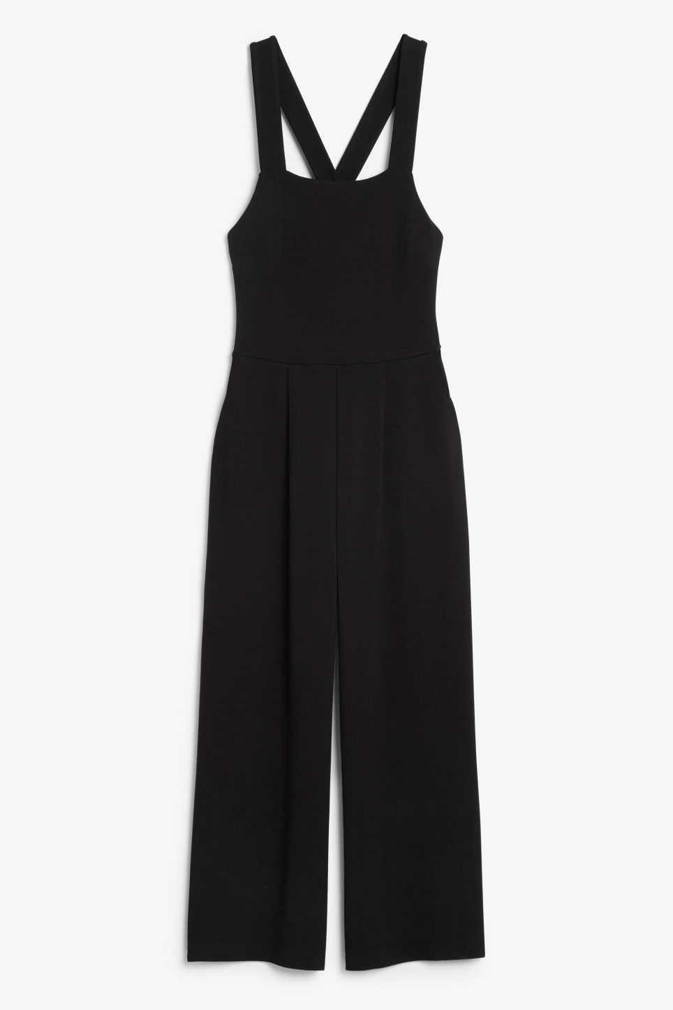 Front image of Monki cross back jumpsuit in black