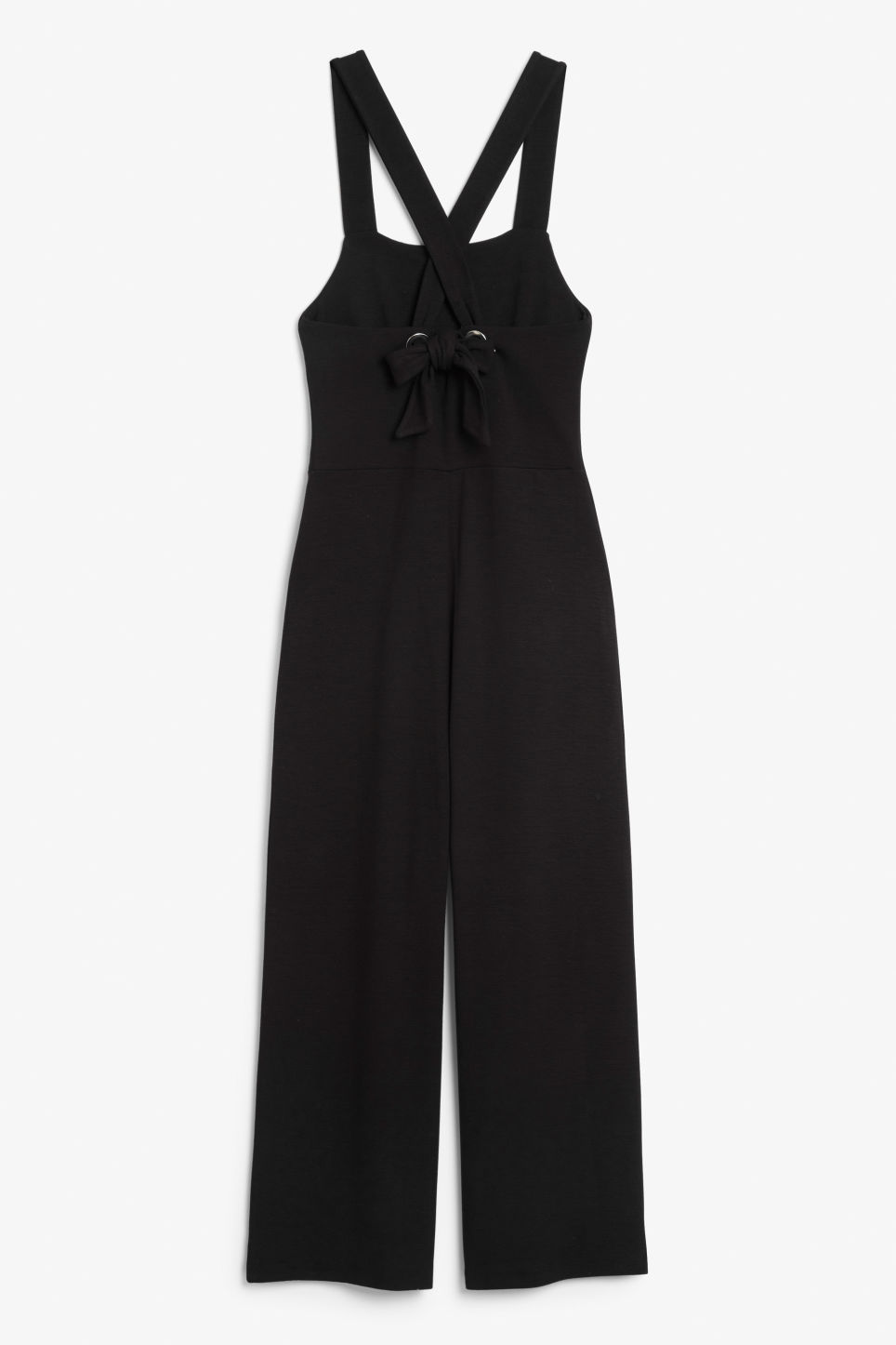 Back image of Monki cross back jumpsuit in black