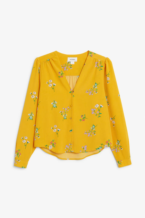 Front image of Monki billowy blouse in yellow