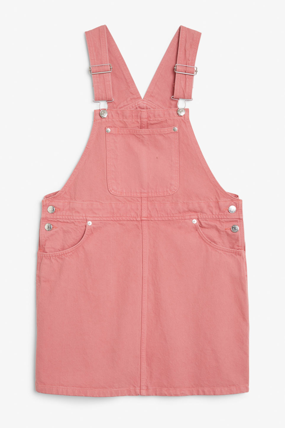 Front image of Monki denim dungaree dress in pink